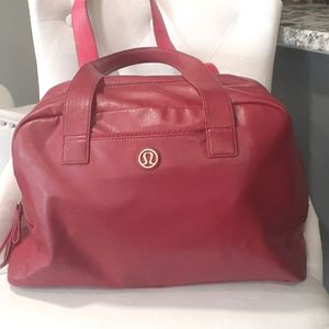 Lululemon red duffle gym travel bag